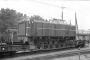 """MaK 700013 - SJ """"Tp 3512"""" __.__.1970 - Stockholm Ö (Ostbahnhof) auf Rollwagen; die Lok wurde im selben Jahr verschrottet.Dr. Stig Svallhammar"""